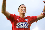 09 July 2014: Dallas' Blas Perez (PAN) celebrates his first goal. The Carolina RailHawks of the North American Soccer League played FC Dallas of Major League Soccer at WakeMed Stadium in Cary, North Carolina in the quarterfinals of the 2014 Lamar Hunt U.S. Open Cup soccer tournament. FC Dallas won the game 5-2.