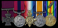 BNPS.co.uk (01202 558833)<br /> Pic:  Spink&Son/BNPS<br /> <br /> The medal group belongong to Lance Sergeant Arthur Evans<br /> <br /> The Victoria Cross awarded to a hero sergeant who swam across a river and single-handedly took out a German enemy machine gun post has emerged for sale for £150,000.<br /> <br /> Lance Sergeant Arthur Evans crawled up behind the post and shot the sentry and another man, before making four more surrender.<br /> <br /> His exploits, which saw him receive the highest honour for gallantry, were all the more remarkable as ten months earlier he was gassed in the trenches of the WesterŽŽ  ont.<br /> <br /> Sgt Evans, of 6th Battalion, Lincolnshire Regiment, also received a prestigious Distinguished Conduct Medal after storming another machine gun post in a separate raid. On that occasion, he killed 10 Germans and took one survivor who provided 'valuable information'.<br /> <br /> His medal group, as well as a gold pocket watch he was presented on his return to Britain following the conflict, are being sold by his family with London based auction house Spink & Son.
