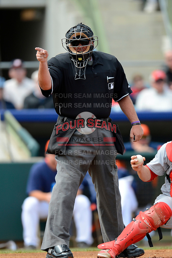 Home plate umpire Hunter Wendelstedt during a spring training game between the Houston Astros and St. Louis Cardinals at Osceola County Stadium on March 1, 2013 in Kissimmee, Florida.  The game ended in a tie at 8-8.  (Mike Janes/Four Seam Images)