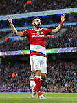Alvaro Negredo of Middlesbrough races to a missed chance to score during the Premier League match at the Etihad Stadium, Manchester. Picture date: November 5th, 2016. Pic Simon Bellis/Sportimage