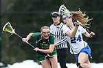 22 February 2015: Duke's Katie Trees (24) and William & Mary's Allison Henry (19). The Duke University Blue Devils hosted the College of William & Mary Tribe on the West Turf Field at the Duke Athletic Field Complex in Durham, North Carolina in a 2015 NCAA Division I Women's Lacrosse match. Duke won the game 17-7.