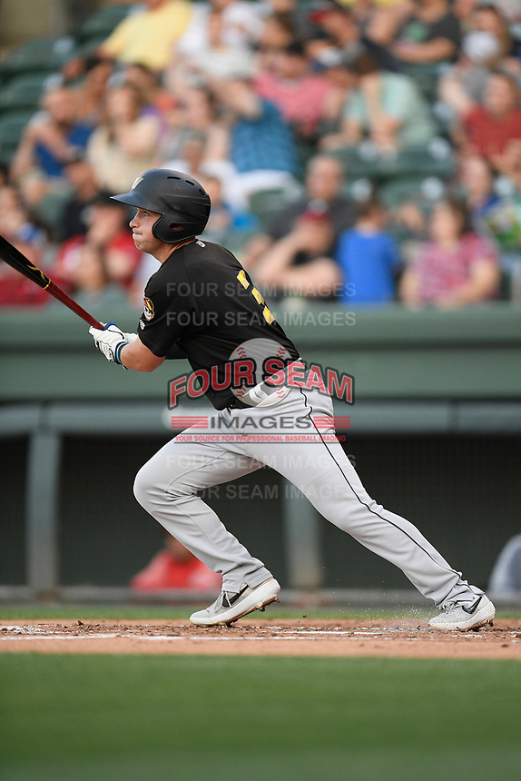 Third baseman Bobby Honeyman (3) of the West Virginia Power bats in a game against the Greenville Drive on Friday, May 17, 2019, at Fluor Field at the West End in Greenville, South Carolina. West Virginia won, 10-4. (Tom Priddy/Four Seam Images)