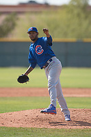 Chicago Cubs relief pitcher Eugenio Palma (46) during a Minor League Spring Training game against the Colorado Rockies at Sloan Park on March 27, 2018 in Mesa, Arizona. (Zachary Lucy/Four Seam Images)