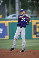 Cam Warner (4) of the TCU Horned Toads throws during a game against the Long Beach State Dirtbags  at Blair Field on March 14, 2017 in Long Beach, California. Long Beach defeated TCU, 7-0. (Larry Goren/Four Seam Images)