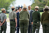 President Barack Obama and Prime Minister Shinzo Abe of Japan stop to talk to U.S. Park Rangers as they visit the Lincoln Memorial in Washington, District of Columbia, U.S., on Monday, April 27, 2015.  Prime Minister Abe is in the Nation's Capital to discuss a range of economic, security, and global issues, including progress on the Trans Pacific Partnership, Japan's expanding role in the Alliance, and climate change.<br /> Credit: Pete Marovich / Pool via CNP