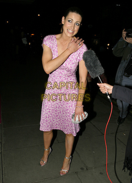 KIRSTY GALLACHER.Laurent-Perrier Pink Party,.Sanderson Hotel, London, April 27th 2005..full length pink patterned print printed dress hand on chest shoulder gallagher.Ref: AH.www.capitalpictures.com.sales@capitalpictures.com.©Adam Houghton/Capital Pictures.