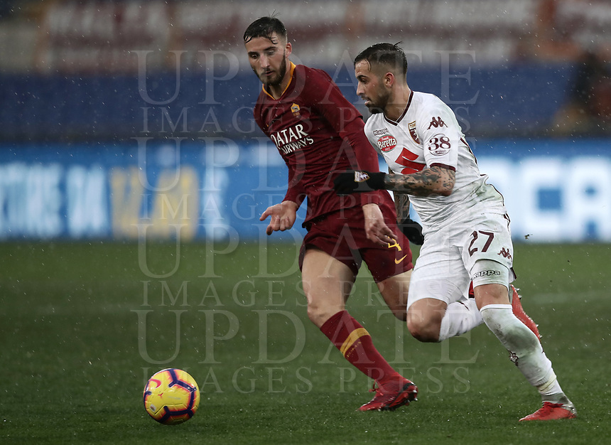 Football, Serie A: AS Roma - Torino, Olympic stadium, Rome, January 19, 2019. <br /> Torino's Cristian Daniel Ansaldi (l) in action with Roma's Vittorio Parigini (r) during the Italian Serie A football match between AS Roma and Torino at Olympic stadium in Rome, on January 19, 2019.<br /> UPDATE IMAGES PRESS/Isabella Bonotto