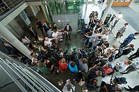 In einer nichtoeffentlichen Sondersitzung des Bundestagsausschuss fuer Verkehr und digitale Infrastruktur, am Mittwoch den 24. Juli 2019, berichtete Bundesverkehrsminister Andreas Scheuer (CSU) dem Ausschuss ueber Vertragsinhalte und moegliche Schadensersatzansprueche im Hinblick auf Kuendigungen von Vertraegen zur Infrastrukturabgabe (MAUT) in Folge des Urteils des Europaeischen Gerichtshofs (EuGH). Das Verkehrsministerium hatte, noch bevor die Einfuehrung der MAUT rechtsgueltig haette werden koenne, millionenschwere Vertraege mit Firmen abgeschlossen.<br /> Im Bild: Verkehrsminister Scheuer beantwortet vor der Sitzung Fragen von Journalisten.<br /> 24.7.2019, Berlin<br /> Copyright: Christian-Ditsch.de<br /> [Inhaltsveraendernde Manipulation des Fotos nur nach ausdruecklicher Genehmigung des Fotografen. Vereinbarungen ueber Abtretung von Persoenlichkeitsrechten/Model Release der abgebildeten Person/Personen liegen nicht vor. NO MODEL RELEASE! Nur fuer Redaktionelle Zwecke. Don't publish without copyright Christian-Ditsch.de, Veroeffentlichung nur mit Fotografennennung, sowie gegen Honorar, MwSt. und Beleg. Konto: I N G - D i B a, IBAN DE58500105175400192269, BIC INGDDEFFXXX, Kontakt: post@christian-ditsch.de<br /> Bei der Bearbeitung der Dateiinformationen darf die Urheberkennzeichnung in den EXIF- und  IPTC-Daten nicht entfernt werden, diese sind in digitalen Medien nach §95c UrhG rechtlich geschuetzt. Der Urhebervermerk wird gemaess §13 UrhG verlangt.]