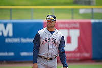 Pitching Coach Fred Dabney (38) of the Colorado Springs Sky Sox before the game against the Salt Lake Bees in Pacific Coast League action at Smith's Ballpark on May 24, 2015 in Salt Lake City, Utah.  (Stephen Smith/Four Seam Images)