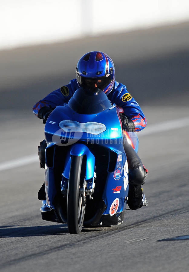 Sept. 4, 2010; Clermont, IN, USA; NHRA pro stock motorcycle rider Jim Underdahl during qualifying for the U.S. Nationals at O'Reilly Raceway Park at Indianapolis. Mandatory Credit: Mark J. Rebilas-