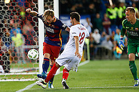 FC Barcelona´s  Rakitic and Sevilla´s Escudero during the Final of Copa del Rey match between FC Barcelona and SevillaFC at the Vicente Calderon Stadium in Madrid, Sunday, May 22, 2016.