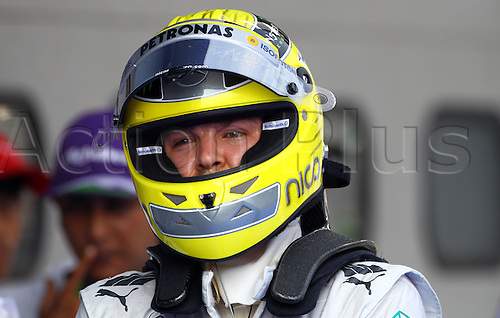 24.03.2012. Sepang, Malaysia.  German Formula One driver Nico Rosberg of Mercedes AMG reacts after the Qualifying session at the Sepang circuit, outside Kuala Lumpur, Malaysia, 24 March 2012. The Formula One Grand Prix of Malaysia will take place on 25 March 2012.