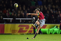 James Lang of Harlequins kicks for the posts. Aviva Premiership match, between Harlequins and Saracens on December 3, 2017 at the Twickenham Stoop in London, England. Photo by: Patrick Khachfe / JMP