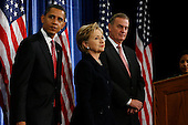 Chicago, IL - December 1, 2008 -- United States President-elect Barack Obama introduces United States Senator Hillary Rodham Clinton (Democrat of New York), middle, as his nominee for Secretary of State.  Obama also introduced James L. Jones, right, chosen as national security advisor, and Susan Rice, far right, chosen as United Nations ambassador, Monday morning, December 1, 2008 at the Chicago Hilton & Towers in Chicago, Illinois..Credit: Anne Ryan - Pool via CNP