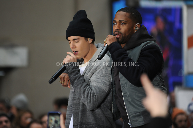 WWW.ACEPIXS.COM<br /> November 18, 2015 New York City<br /> <br /> Justin Bieber and Big Sean performing in concert on NBC TODAY at Rockefeller Plaza on November 12, 2015 in New York City.<br /> <br /> Credit: Kristin Callahan/ACE<br /> <br /> Tel: (646) 769 0430<br /> e-mail: info@acepixs.com<br /> web: http://www.acepixs.com