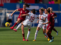FRISCO, TX - MARCH 11: Jill Scott #8 of England fights for the ball with Leila Ouahabi #15 of Spain during a game between England and Spain at Toyota Stadium on March 11, 2020 in Frisco, Texas.
