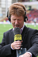 Jim Spence of Radio Scotland struggling with the player names in the Motherwell v Panathinaikos UEFA Champions League 3rd Qualifying Round 1st Leg match at Fir Park, Motherwell on 31.7.12.