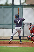 GCL Yankees East Sandy Mota (11) bats during a Gulf Coast League game against the GCL Phillies West on August 3, 2019 at the Carpenter Complex in Clearwater, Florida.  The GCL Phillies West defeated the GCL Yankees East 15-7 in a completion of a game that was originally started on July 26, 2019.  (Mike Janes/Four Seam Images)