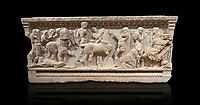 Roman relief sculpted sarcophagus of Achilles from Attica. This side shows scenes from the life of Achilles and bears characteristics of the Late Antonines Period of the Roman Imperial Period between 170-190 AD. Adana Archaeology Museum, TurkeyRoman relief sculpted sarcophagus of Achilles from Attica. This side shows two griffin and  bears characteristics of the Late Antonines Period of the Roman Imperial Period between 170-190 AD. Adana Archaeology Museum, Turkey. Against a black background
