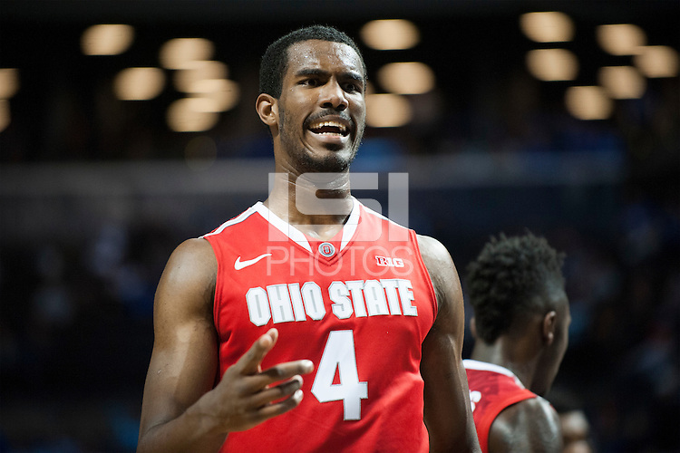 BROOKLYN, NY - Saturday December 19, 2015: Marc Loving (#2) of Ohio State cheers as the Buckeyes defeat Kentucky 74-67 in the CBS Classic at Barclays Center in Brooklyn, NY.