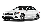Stock pictures of low aggressive front three quarter view of a 2019 Mercedes Benz C-CLass 43-AMG 4 Door Sedan