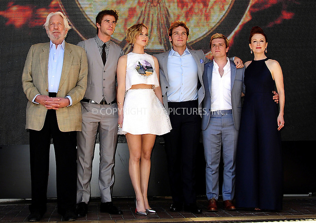 ACEPIXS.COM<br /> <br /> May 17 2014, Cannes<br /> <br /> Donald Sutherland, Liam Hemsworth, Jennifer Lawrence, Sam Claflin, Josh Hutcherson and Julianne Moore at the photocall for 'The Hunger Games: Mockingjay Part I' during the 67th Cannes International Film Festival at Hotel Majestic on May 17 2014 in Cannes, France.<br /> <br /> By Line: Famous/ACE Pictures<br /> <br /> ACE Pictures, Inc.<br /> www.acepixs.com<br /> Email: info@acepixs.com<br /> Tel: 646 769 0430