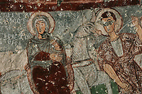Fresco of the Flight to Egypt, in Pancarlik Kilise or Pancarlik Church, early 11th century, in the Pancarlik Valley, Nevsehir province, Cappadocia, Central Anatolia, Turkey. The churches are carved from the soft volcanic tuff created by ash from volcanic eruptions millions of years ago. Early christians came here to flee persecution by the Romans and others settled here under the influence of early saints. This area forms part of the Goreme National Park and the Rock Sites of Cappadocia UNESCO World Heritage Site. Picture by Manuel Cohen