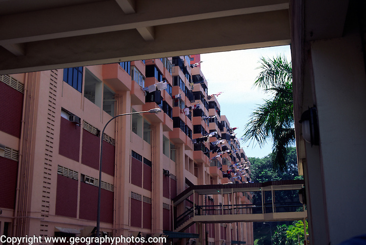 Partial view of flats in inner city high rise housing development in Singapore