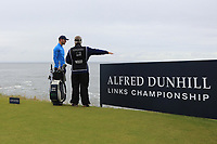 Chris Wood (ENG) on the 3rd tee during Round 2 of the Alfred Dunhill Links Championship 2019 at Kingbarns Golf CLub, Fife, Scotland. 27/09/2019.<br /> Picture Thos Caffrey / Golffile.ie<br /> <br /> All photo usage must carry mandatory copyright credit (© Golffile | Thos Caffrey)