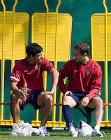 USA's Pablo Mastroeni and Steve Cherundolo   during practice in Hamburg, Germany, for the 2006 World Cup, June, 9, 2006.