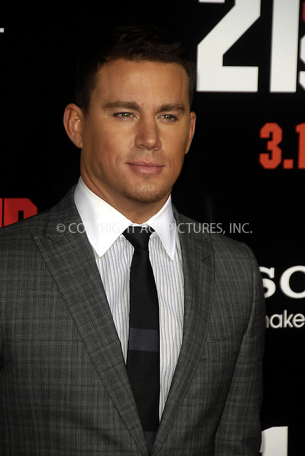 WWW.ACEPIXS.COM . . . . .  ....March 13 2012, LA....Actor Channing Tatum arriving at the Premiere of  '21 Jump Street' at Grauman's Chinese Theatre on March 13, 2012 in Hollywood, California.....Please byline: PETER WEST - ACE PICTURES.... *** ***..Ace Pictures, Inc:  ..Philip Vaughan (212) 243-8787 or (646) 769 0430..e-mail: info@acepixs.com..web: http://www.acepixs.com