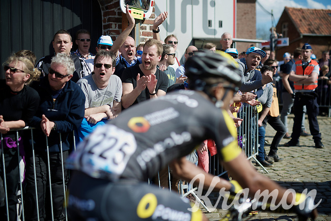 fans cheering the riders on over the Oude Kwaremont<br /> <br /> 100th Ronde van Vlaanderen 2016