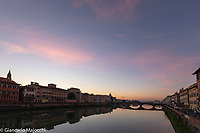 Italy, FlorenceArno river lanscape at the sunset