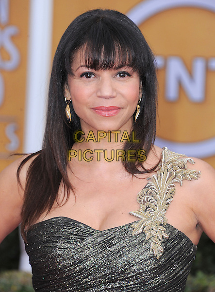 Gloria Reuben.Arrivals at the 19th Annual Screen Actors Guild Awards at the Shrine Auditorium in Los Angeles, California, USA..27th January 2013.SAG SAGs headshot portrait gold grey gray shone one shoulder .CAP/DVS.©DVS/Capital Pictures.