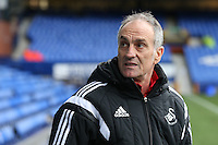 Swansea City Head Coach Francesco Guidolin pictured during the pre match warm up ahead of the Barclays Premier League match between Everton and Swansea City played at Goodison Park, Liverpool