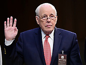 John Dean, former Counsel to the United States President Richard M. Nixon, is sworn-in to testify on the nomination of Judge Brett Kavanaugh before the US Senate Judiciary Committee on his nomination as Associate Justice of the US Supreme Court to replace the retiring Justice Anthony Kennedy on Capitol Hill in Washington, DC on Friday, September 7, 2018.<br /> Credit: Ron Sachs / CNP