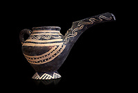 "Minoan Vasiliki Ware long spouted ""teapots"", Vasiliki 2300-1900 BC BC, Heraklion Archaeological  Museum, black background."