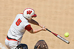 MADISON, WI - APRIL 16: Lynn Anderson #5 of the Wisconsin Badgers softball team hits the ball against the Indiana Hoosiers at Goodman Diamond on April 16, 2007 in Madison, Wisconsin. (Photo by David Stluka)