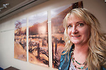 Shooting the West XXV, Winnemucca, Nev...Susan Summer Elliott of Elko with her STW podium triptych landscapes crafted by Dave Patton