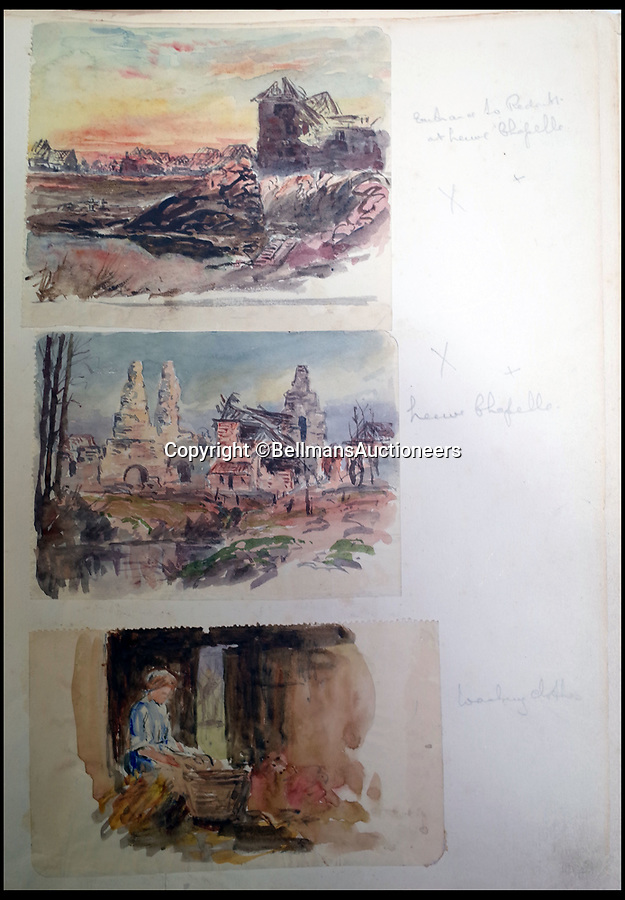 BNPS.co.uk (01202 558833)<br /> Pic: BellmansAuctioneers/BNPS<br /> <br /> Scenes of ruined Neuve Chapelle and a French woman doing the laundry.<br /> <br /> A collection of beautiful First War watercolours that offer a fascinating glimpse into one man's life in the trenches has emerged for sale a century later.<br /> <br /> Talented artist Finlay Mackinnon, who exhibited multiple times at the prestigious Royal Academy, answered the call to sign up in 1914 and spent almost all of the First World War fighting in France.<br /> <br /> But in his free time on the front he did what he loved best, capturing life in the trenches and also the beauty of their bleak surroundings in his pictures.<br /> <br /> Bellmans Auctioneers, who are selling the album of artwork, know little about the provenance of the album, which is expected to fetch £4,000 at auction.