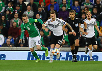 Marco Reus (Deutschland, Germany) gegen Steven Davis (Nordirland, Northern Ireland) - 09.09.2019: Nordirland vs. Deutschland, Windsor Park Belfast, EM-Qualifikation DISCLAIMER: DFB regulations prohibit any use of photographs as image sequences and/or quasi-video.