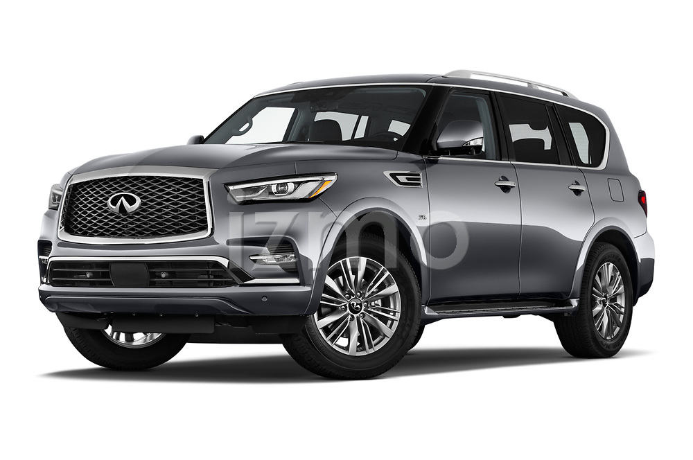 Stock pictures of low aggressive front three quarter view of a 2020 Infiniti QX80 Luxe 5 Door SUV