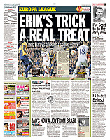 Daily Mirror 24-Oct-2014 - 'ERIK'S TRICK A REAL TREAT' - Photo by Rob Newell (Digital South)