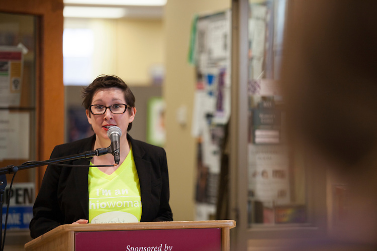 Dr. M. Geneva Murray, director of the Ohio Women's Center speaks at the  OhioWomen Open House, outside of the Women's Center in Baker Center, on Thursday, November 19, 2015. Photo by Kaitlin Owens