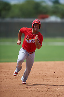 St. Louis Cardinals Orlando Olivera (25) running the bases during a Minor League Spring Training game against the New York Mets on March 31, 2016 at Roger Dean Sports Complex in Jupiter, Florida.  (Mike Janes/Four Seam Images)