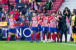 Atletico de Madrid Antoine Griezmann, Saul Niguez, Thomas Teye, Nikola Kalinic and coach Diego Pablo Simeone celebrating a goal during La Liga match between Atletico de Madrid and Deportivo Alaves at Wanda Metropolitano in Madrid, Spain. December 08, 2018. (ALTERPHOTOS/Borja B.Hojas)