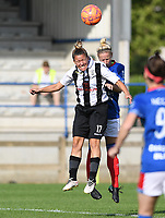 20190810 - DENDERLEEUW, BELGIUM : PAOK's Maria Mitkou (left) pictured in a duel with Linfield's Victoria Ashton-Jones during the female soccer game between the Greek PAOK Thessaloniki Ladies FC and the Northern Irish Linfield ladies FC , the second game for both teams in the Uefa Womens Champions League Qualifying round in group 8 , Wednesday 7 th August 2019 at the Van Roy Stadium in Denderleeuw  , Belgium  .  PHOTO SPORTPIX.BE | DAVID CATRY