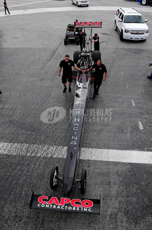 Jan. 17, 2012; Jupiter, FL, USA: NHRA top fuel dragster driver Steve Torrence during testing at the PRO Winter Warmup at Palm Beach International Raceway. Mandatory Credit: Mark J. Rebilas-