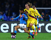 25th February 2020; Stadio San Paolo, Naples, Campania, Italy; UEFA Champions League Football, Napoli versus Barcelona; Lorenzo Insigne of Napoli challenges Antoine Griezmann of Barcelona