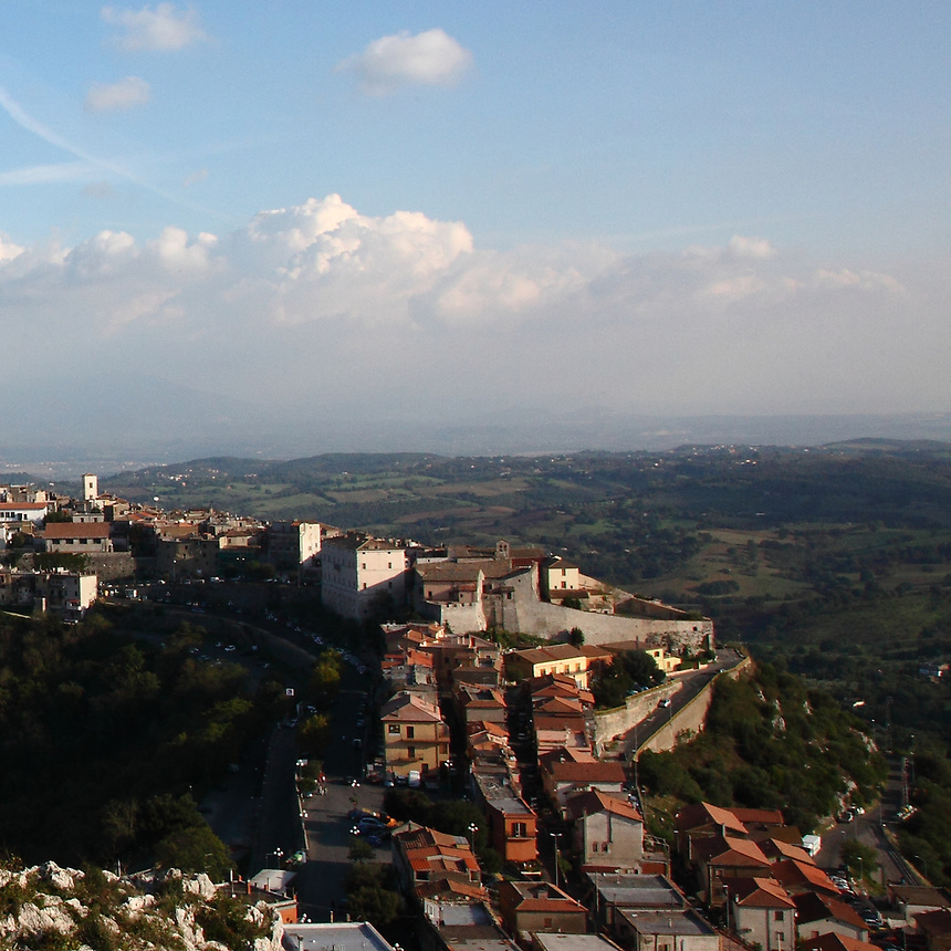 Here, a partial view of the small town of Sant&rsquo;Oreste. The photo is taken from a high point on the hillside of the Monte Soratte, which muontaintop stands above it. This small town has a lot of history, since it is in a favourable defensive position, near to Rome, and this part of the Monte Soratte itself was used for the construction of a bunker, during the Second World War. This is an enlargement of a part of the original photo.<br /> <br /> You can download this file for (E&amp;PU) only, but you can find in the collection the same one available instead for (Adv).